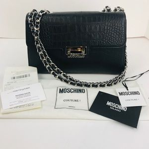 MOSCHINO Couture Black Leather Croc Embossed Bag